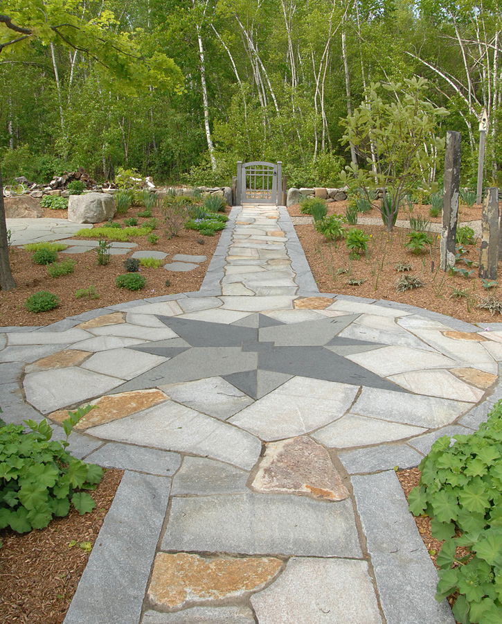 Slate Walkways with Inset Compass Point Design