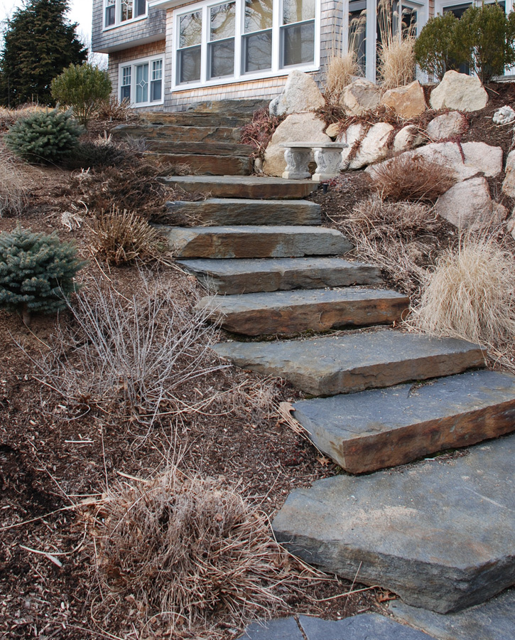 Rough-Hewn Stone Staircase and Retaining Wall