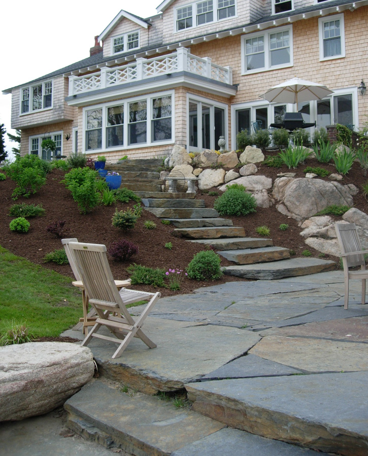 Slate Terrace, Natural Stone Steps, and Fresh Shrubbery