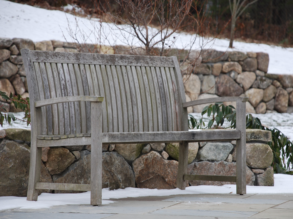 Stone Retaining Walls, Slate Patio and Bench
