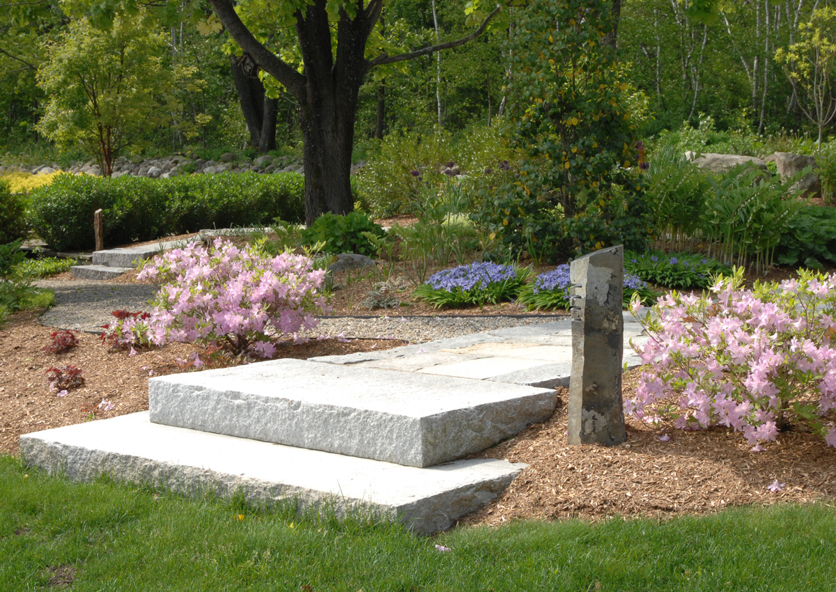Granite Steps with Flowering Bushes