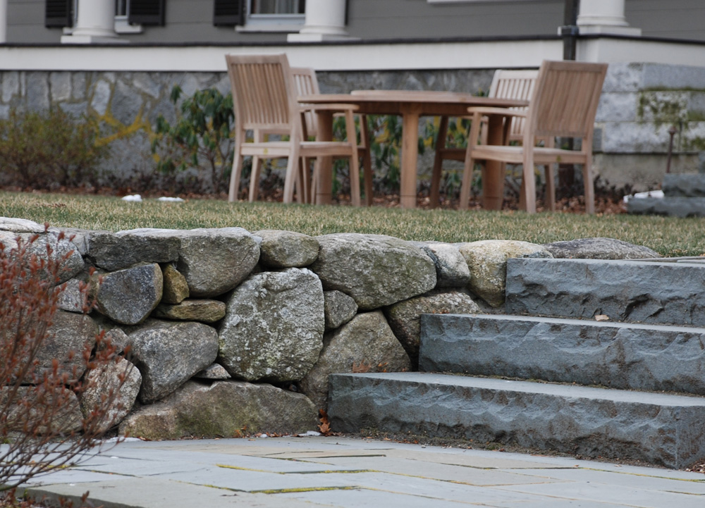 Stone Retaining Wall and Staircase