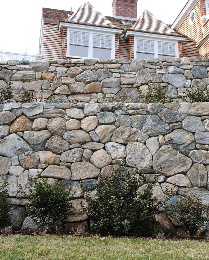 Multi-tiered Stone Retaining Walls with Hedges