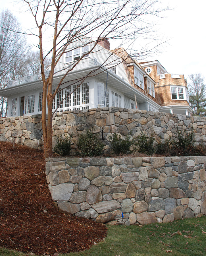 Multi-Tiered Stone Retaining Walls
