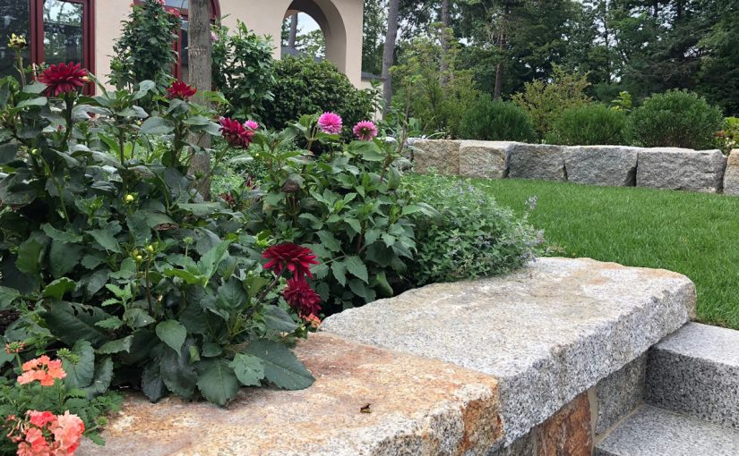 Stone Wall, Steps, and Garden