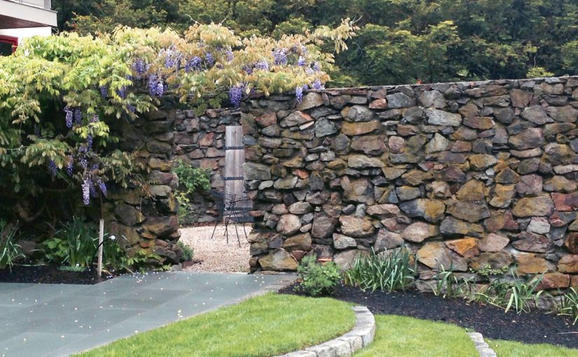 Natural Stone Wall with Wisteria